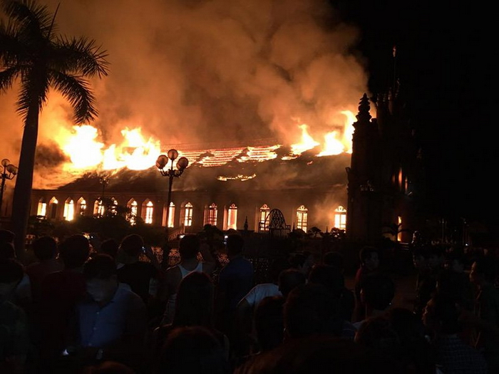 Vietnam - Trung Lao Church destroyed by fire